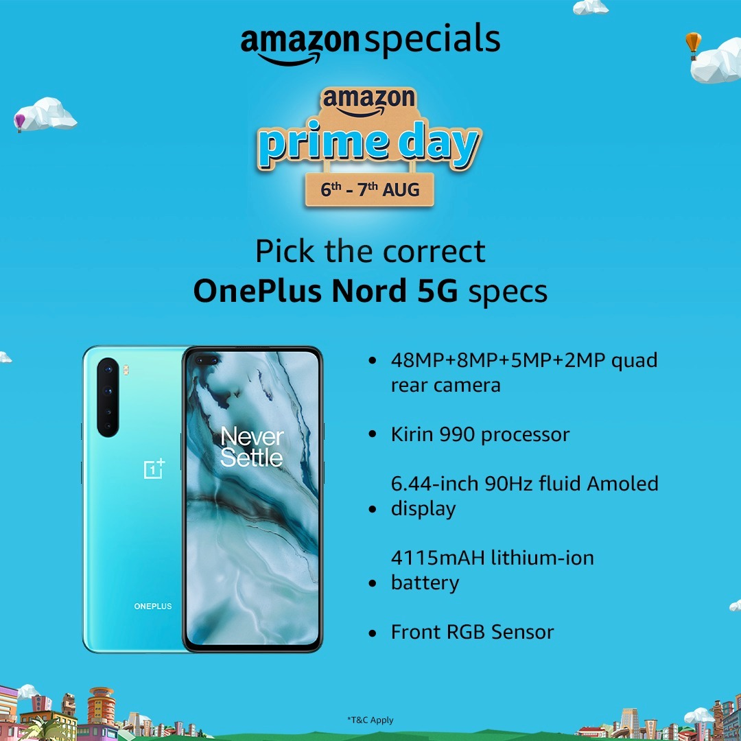 #ContestAlert: Which specs fit perfectly with the newly-launched OnePlus Nord 5G? Find the right specs from the image, share them in the comments, use #AmazonPrimeDay #AmazonSpecialsOnePlusNord5G & stand a chance to win the all-new OnePlus Nord 5G.  T&C - https://t.co/YyPi5PB9Uz https://t.co/4GO7uYn1W8