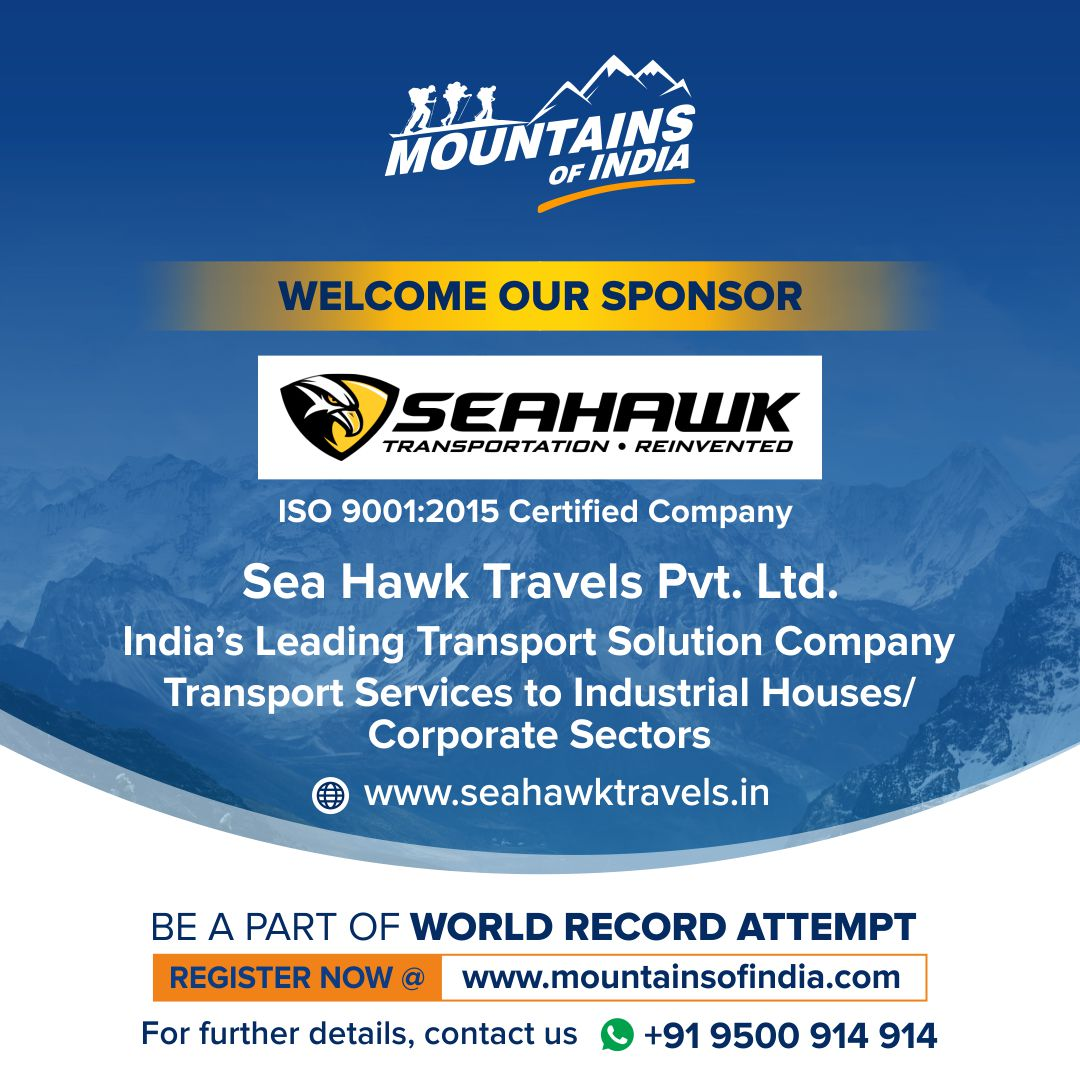 We welcome #SeaHawk India's leading transport services company as a sponsor to the #GUINNESSWORLDRECORDOFFICIALATTEMPT on Facebook #mountainsofindia Know more - https://t.co/KPgHqzw5p7  #mountaineeringworldrecordattempt #mountaineering #mountaineer #indianmountains #sponsor https://t.co/tj9VJVKQq0