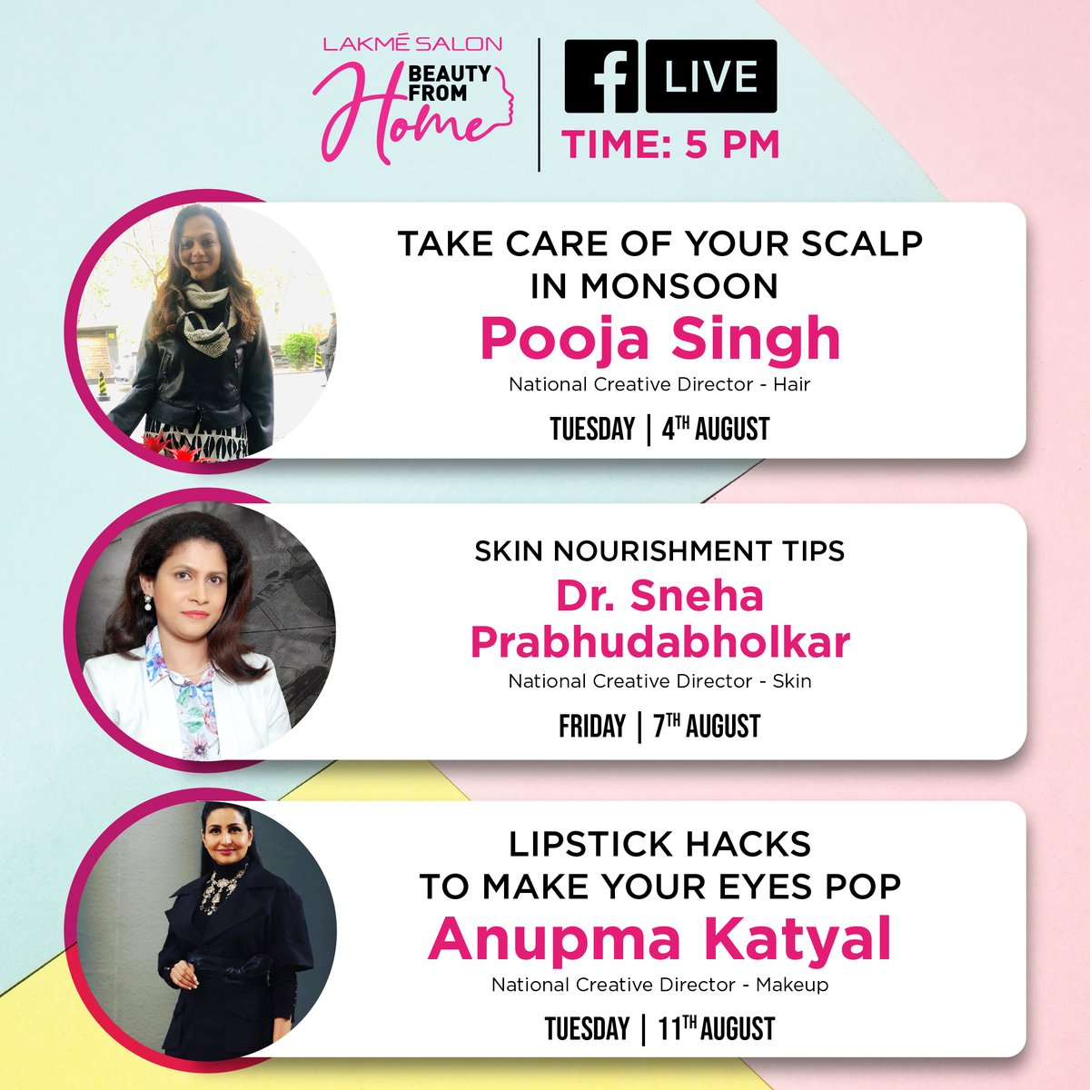 Here's an exciting line up for the upcoming days, loaded with tips and hacks for your makeup, skin and hair 💕  Gear up to learn something new every Tuesday and Friday and tune in to our #BeautyFromHome sessions happening LIVE at 5 PM on FB.  Follow us on Facebook at @lakmesalon https://t.co/oKIWpKugpU