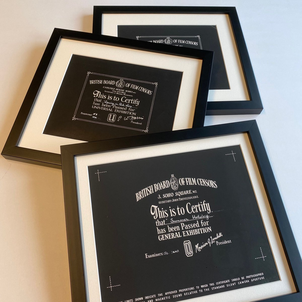 These are interesting.. film certificates. There's only ever one per film, so here we have unique originals! Framed and glazed with museum glass. Thanks @kevinmarkwick for bringing them in.  #framing #pictureframing #woodframing #bespokeframing #artframing #uckfield #sussexpic.twitter.com/S1D2cCzXOE