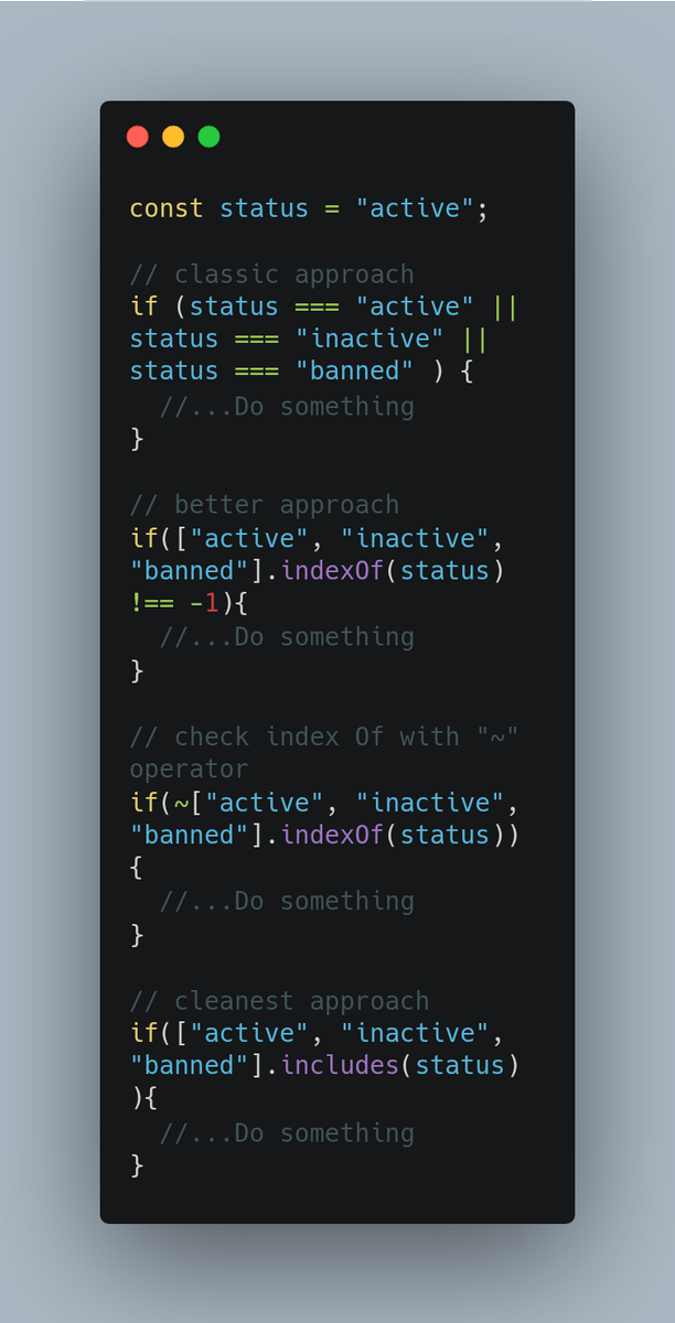 """Javascript Tip:  If you need to deal with many conditionals this is a cleaner alternative to """"if"""" and """"  """"   And it is highly scalable  #100DaysOfCode #CodeNewbie #reactjs #React #php #Laravel #DEVCommunity #webdev #Webdesign #programmingpic.twitter.com/7fPDVhkcG4"""