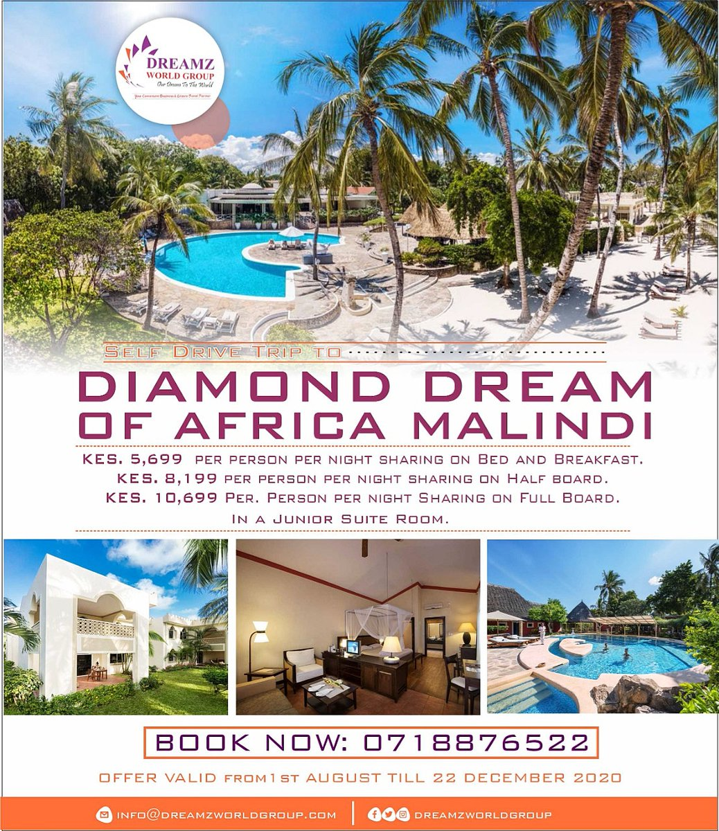 Just like the Gem, Diamond Dream of Africa Malindi has the brilliance to die for details.  Self Drive Rates. Check poster for details.  Valid from 1 Aug to 22 Dec 2020. #DreamzWorld #Malindi #TembeaKenya #DiamondDreamOfAfrica #Travel #Tour #Kenya #Scenery #BeachLife #Coastpic.twitter.com/MwSxDNXCcG