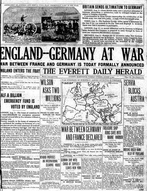 #OTD 1914: #Britain declared war on #Germany after the Germans had violated the Treaty of London by invading #Belgium. The United States declared their neutrality in the conflict. #WW1 #FWWpic.twitter.com/hsHZshMasL