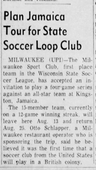 On this date in 1958, news that Milwaukee Sport Club was going to Jamaica. pic.twitter.com/4c9ZXioEFS