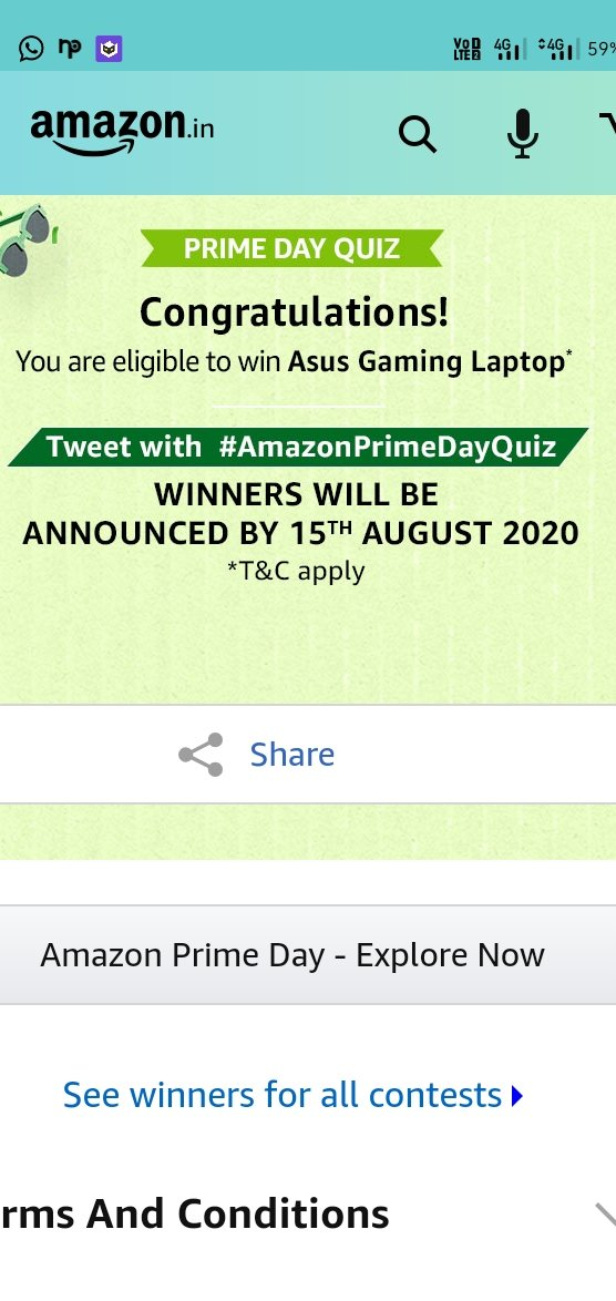 Thanks for the quiz and l will win the asus gaming laptop in #AmazonPrimeDayQuizpic.twitter.com/2FRxFFenbA