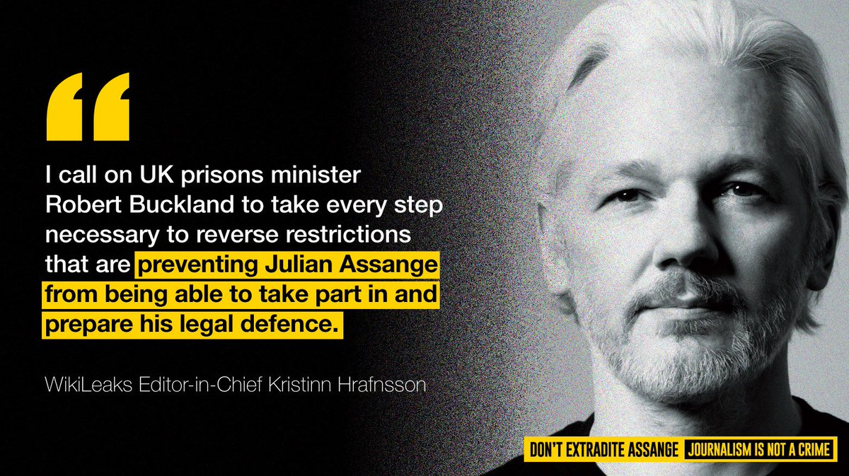Julian Assange hasn't seen his family for 20 weeks and there is no #COVID19 reported in Belmarsh. His extradition hearing is due to restart on September 7th. Why still restrictions @RobertBuckland?  #DontExtraditeAssange #FreeAssange #prisonerspeopletoo  https://t.co/wWOWaZdDOC https://t.co/5u7zBosa4d