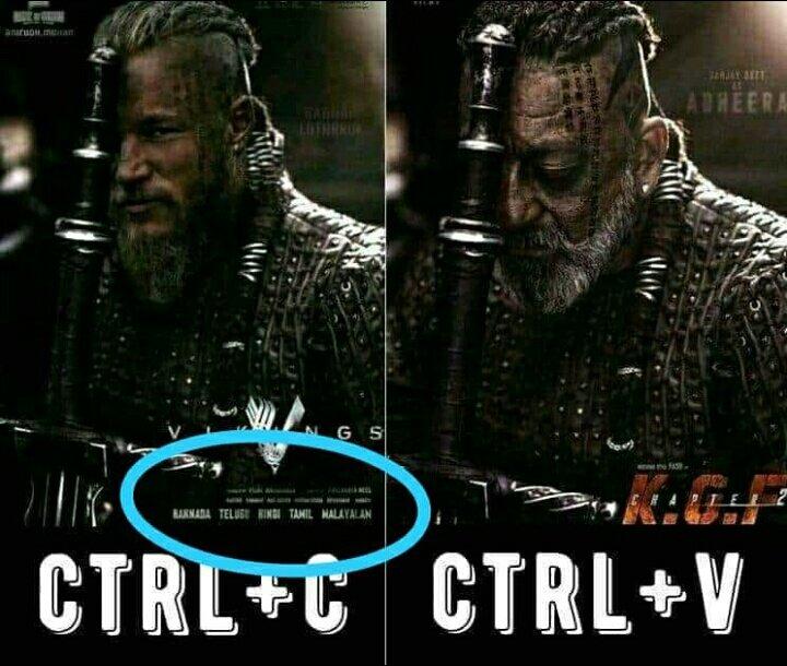 Abe lowde . Vikings 5 language me kab ayi..?  Critic ho thoda check kr liya kro Tweet krne se phele.. #Adheera ke poster se vikings ka poster bnya gya hai... #KGF2 #SanjayDutt #KGFChapter2pic.twitter.com/qTvoTHF63e