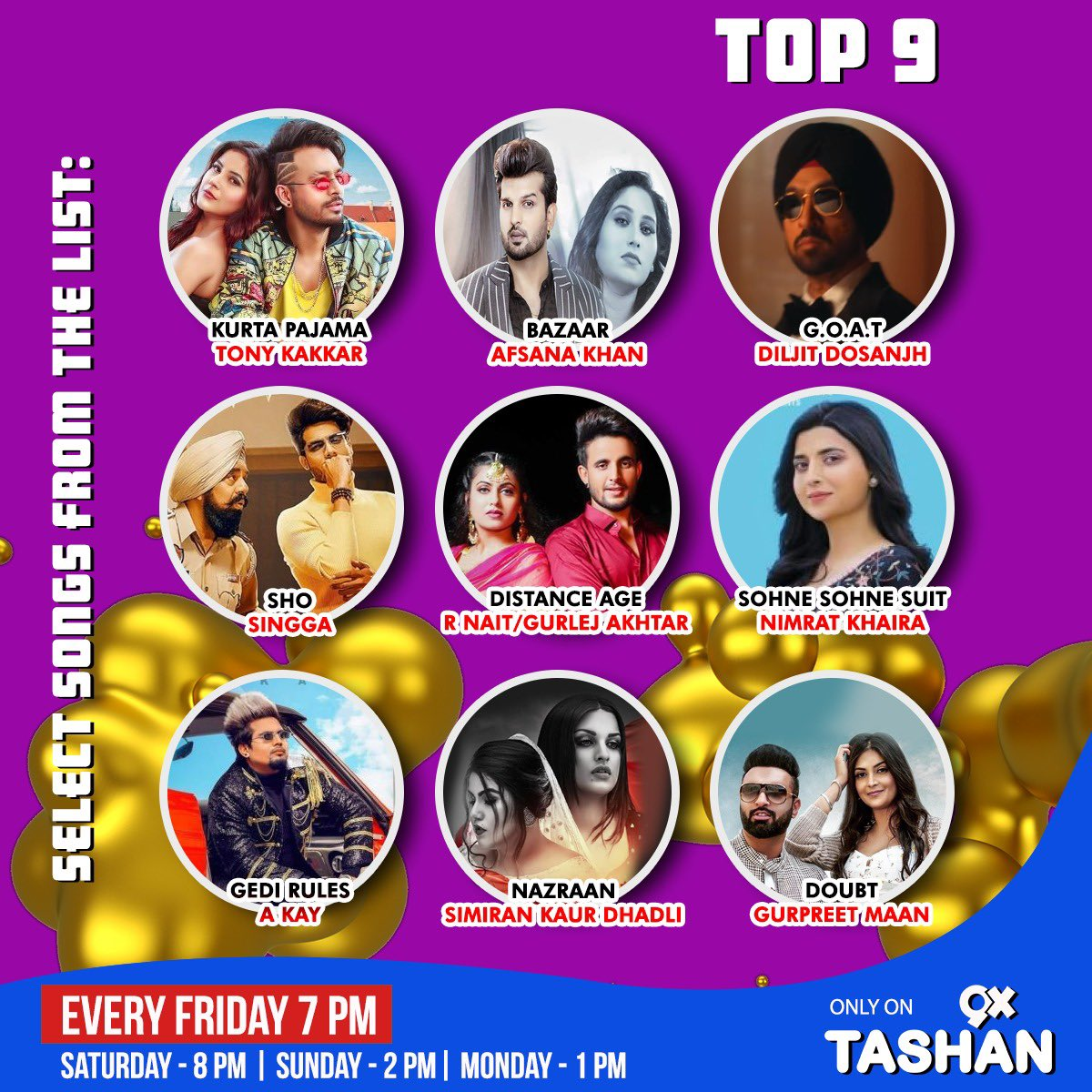 Check out the #Top9 latest Punjabi hits of the #TashanTop9! You can even choose your favourite song of the week and vote for it to the top the chart!   #9xtashan #punjabihits #punjabimusic #toppunjabisongspic.twitter.com/gGjO0CEBtz