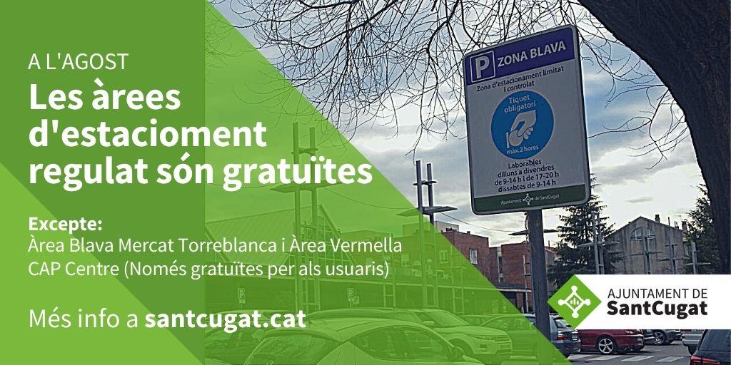 🅿️ Fins al 31 d'agost, les àrees blaves i verdes d'estacionament regulat són gratuïtes a #SantCugat, a excepció de la del Mercat de Torre Blanca ➡️ https://t.co/naSFfvLpyd  #LaCiutatEndavant