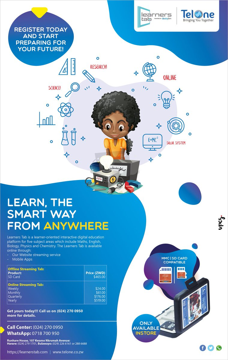 Learn, the smart way from anywhere with @TelOneZW's Learners tab.   Visit http://www.learnerstab.com and start preparing for the future now!   #StaySafe #StayConnectedpic.twitter.com/LsUkSoKl70
