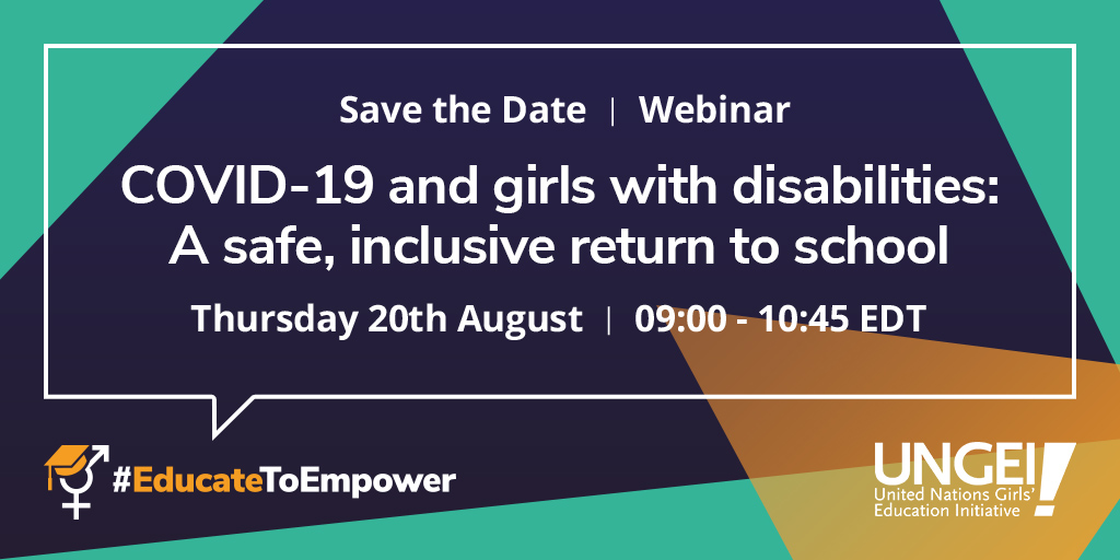 As governments seek to get education systems back on track following school closures in response to the COVID-19 pandemic, the webinar brings a focus to learners with disabilities, and the particular challenges that girls face. #EducateToEmpower  Register: https://bit.ly/safe-return-webinar…pic.twitter.com/Mmh6GL3N5H