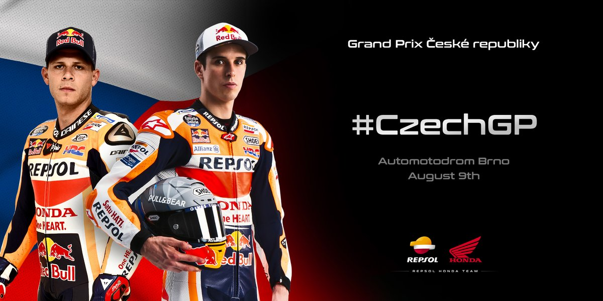 """Unfortunately @marcmarquez93 will miss the #CzechGP with @stefanbradl stepping into the Repsol Honda Team once again.  """"Every session I learn more about MotoGP"""" @alexmarquez73   """"Competing with the Repsol Honda Team is always a great honour"""" @stefanbradl   https://t.co/rwmS4JfiaI https://t.co/oqQZdhou2a"""