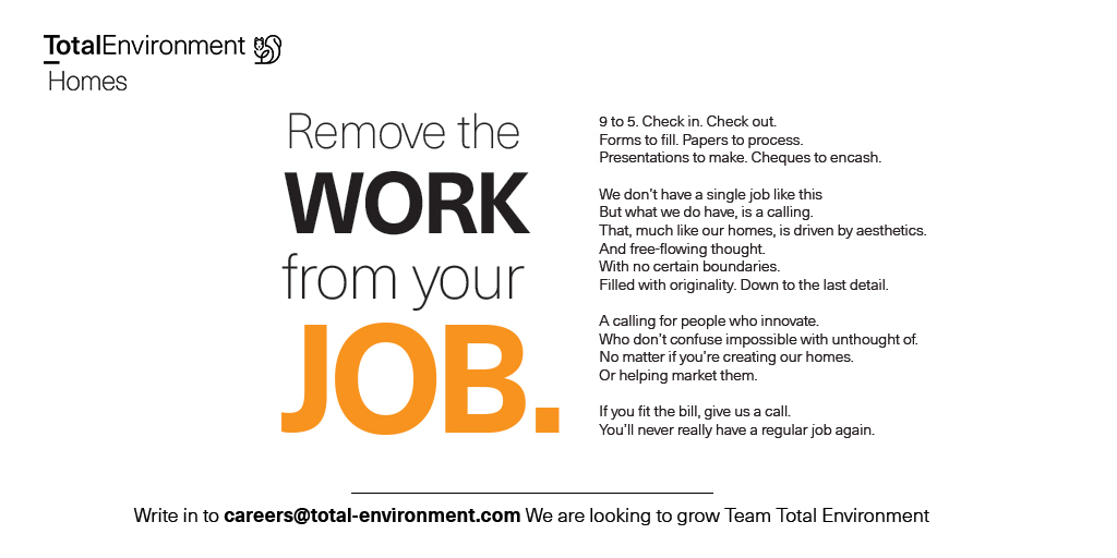 "If you are looking to make a difference, bring your originality, passion and a whole lot of ""why nots?"" We'd like to hear from you.  Visit - https://t.co/pcf6YorcRq or email at careers@total-environment.com https://t.co/Z0AXnzOwjm"