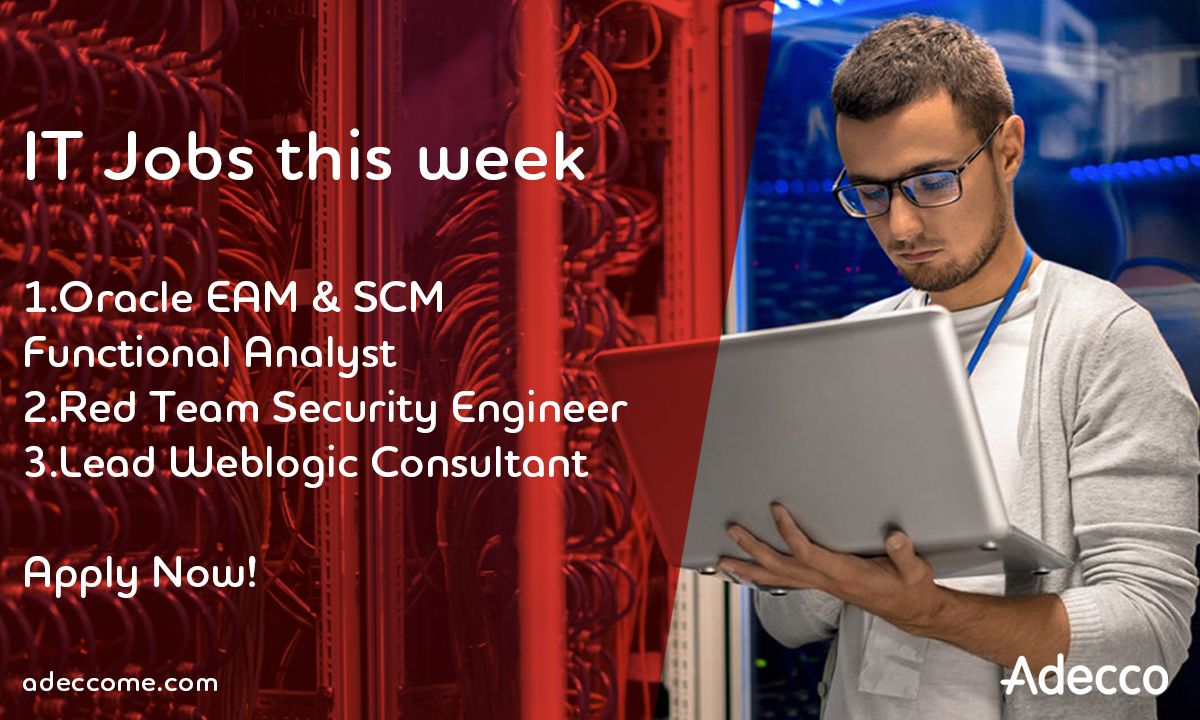 IT jobs this week! Apply today!  For more details, kindly click on the below link.  1. Oracle EAM and SCM Functional Analyst)(4 months contract) https://t.co/ErKNv22BG3  2. Red Team Security Engineer https://t.co/21Oy8SqgAE  3. Lead Weblogic Consultant https://t.co/sT41gKtumi https://t.co/jVm8B6BoPl