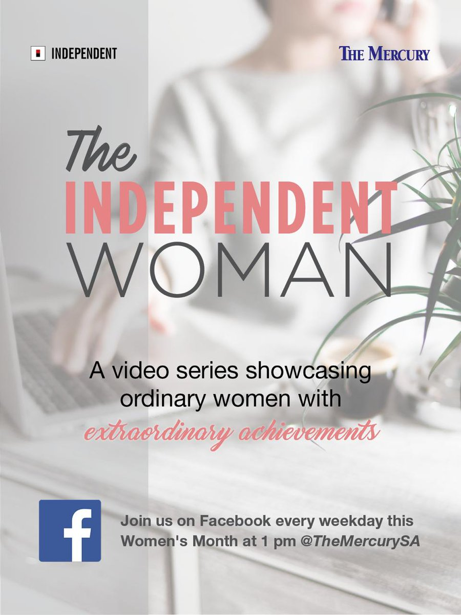 #Independentwomen video series  Join @TheMercurySA for a special #independentwoman edition via Facebook every weekday at 13:00PM and watch ordinary women share their extraordinary achievements and stories.  #womensmonth #womensmonth2020 #WomensMonthpic.twitter.com/8AOXJAmT0A