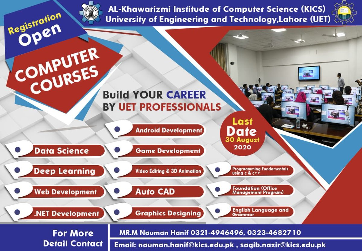 #Computer #courses in #KICS #UET #Lahore pic.twitter.com/D1h6LPI6OI – at University of Engineering and Technology