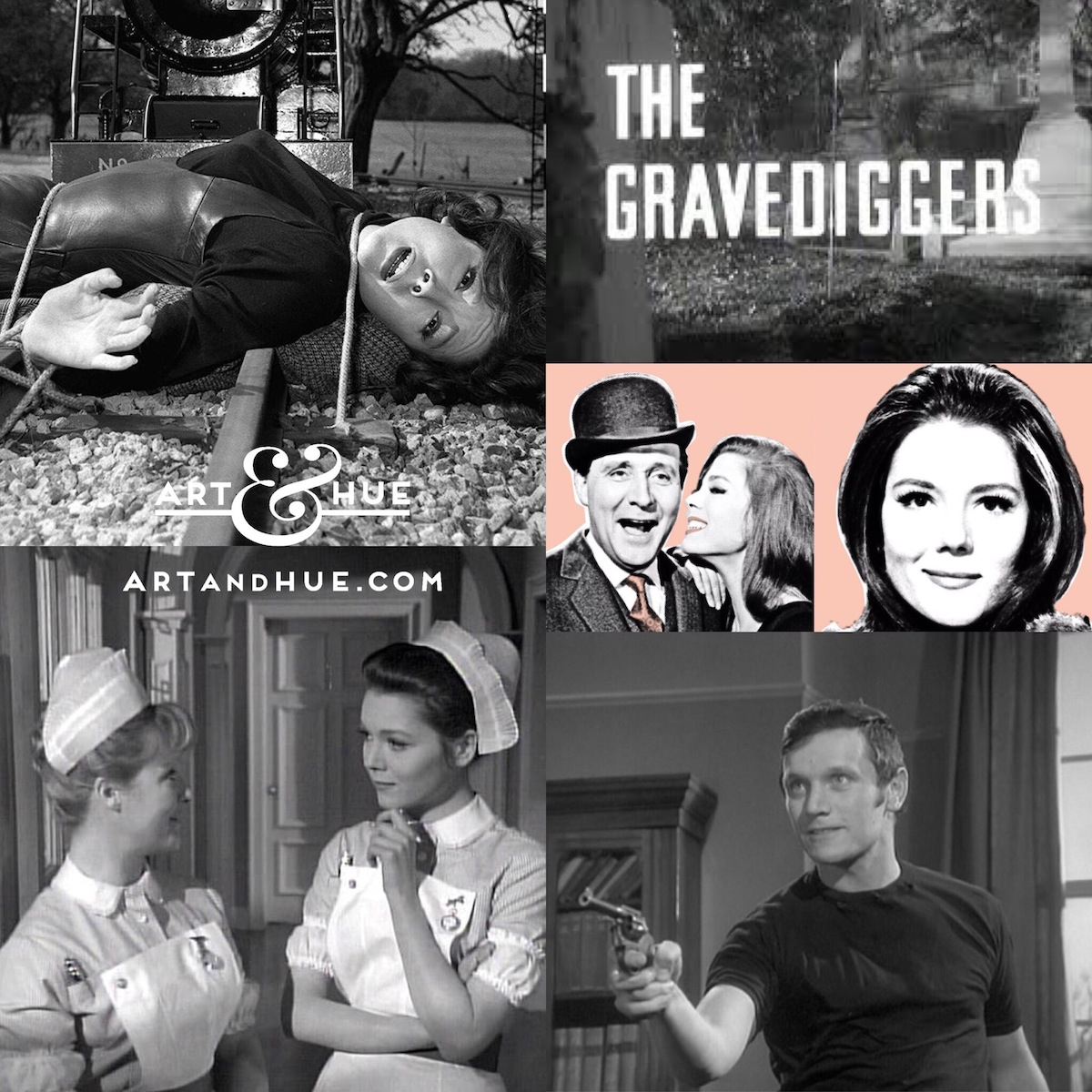 """On this day in 1966, The Avengers episode """"The Gravediggers"""" aired on American TV for the first time, guest-starring Wanda Ventham, Steven Berkoff & Caroline Blakiston.   http://artandhue.com/theavengers   #TheAvengers #ElstreeStudios #dianarigg #mrspeel #patrickmacneepic.twitter.com/7OsHGbZyVx"""