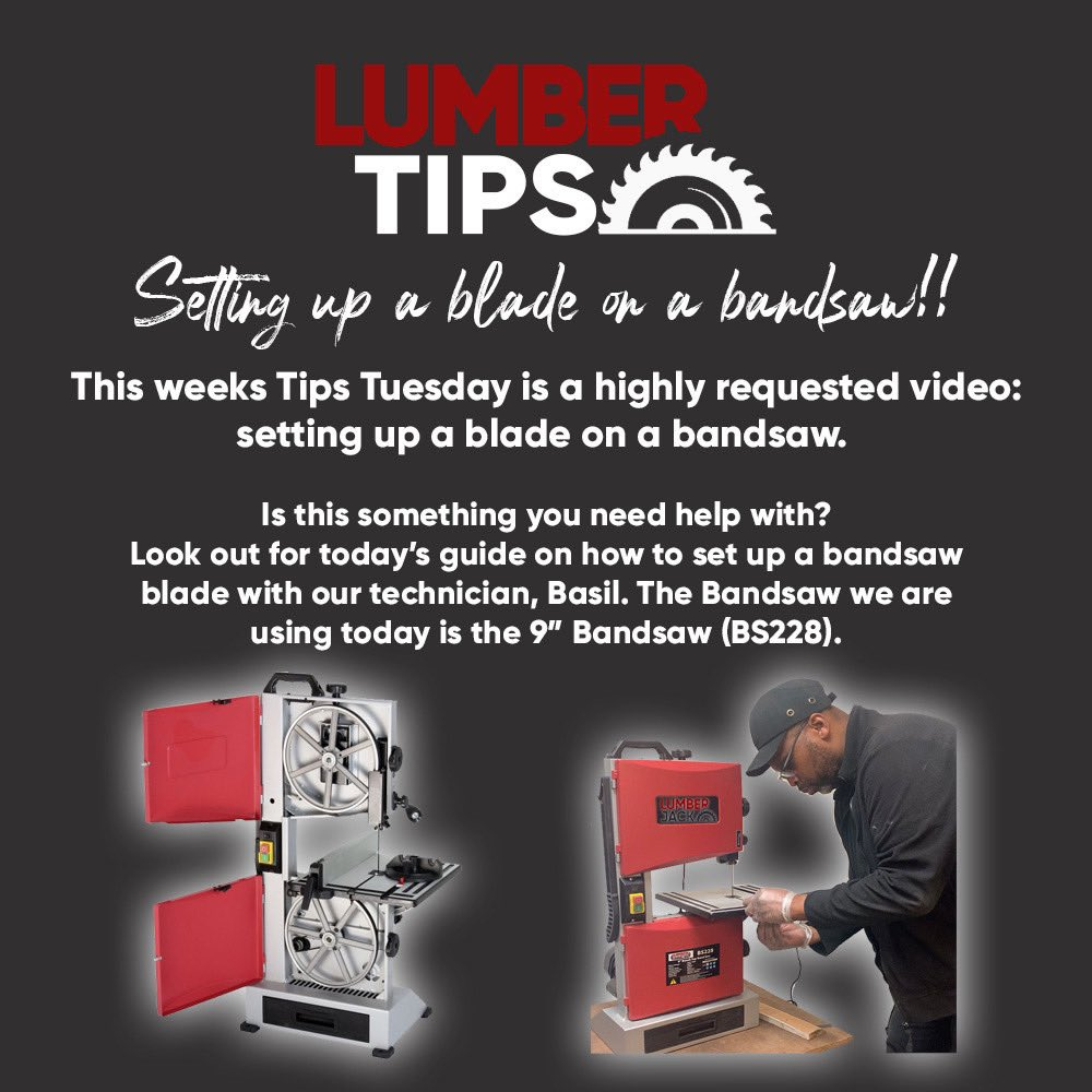 T I P S   T U E S D A Y  - Look out for today's video on how to put a new blade on our BS228. Do you have any handy tips and tricks for any of our Lumberjack Tools Bandsaws? Comment below  - #bandsaw #blade #tiptuesdays #technical #howtopic.twitter.com/UpLLf5sqO6