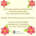 Image for the Tweet beginning: Saa innostua! 🤩🤩🤩 #lapuankansalaisopisto #kansalaisopisto #lapua