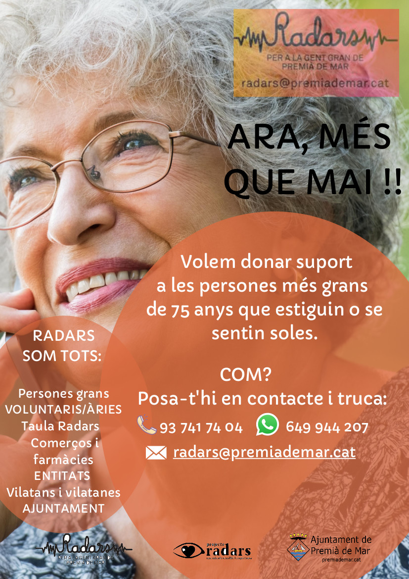 L'equip del projecte Radars inicia una nova campanya per donar suport a les persones grans que viuen i se senten soles. Amb el suport de veïns, veïnes i comerciants, es fa un seguiment d'aquest col·lectiu per reduir-ne el risc d'aïllament. http://premiademar.cat/19067 #PremiàDeMar pic.twitter.com/rS2f5BQXKG