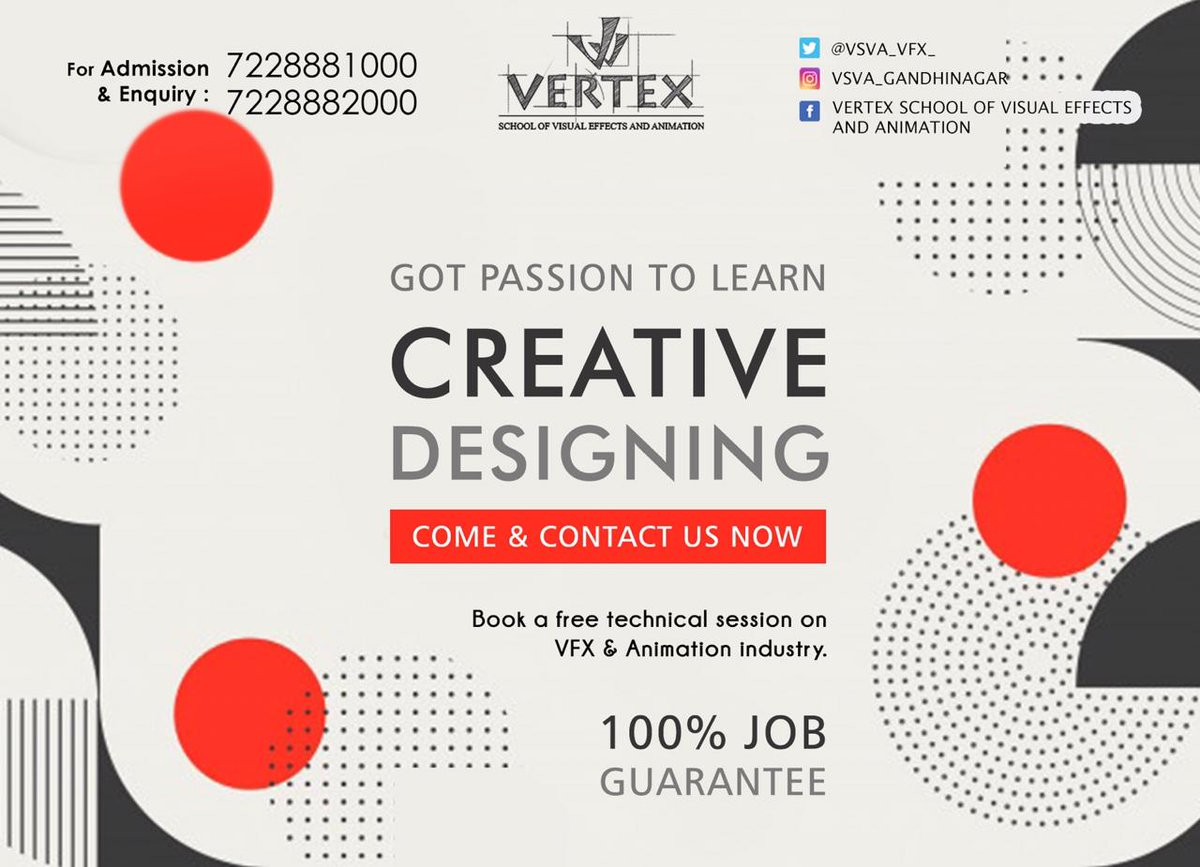 Interested in Learning new Skills on your way to a great career in design, at VSVA   #3DAnimation #VisualEffects  #learnVFX #VFXCourses #VFX #animation #cg #videoediting #graphicdesign #bestvfxinstitute #bestanimationinstitute #CG #3D #vfxtraining #gandhinagar #ahmedabad #Gujaratpic.twitter.com/5IMAfcZmkl