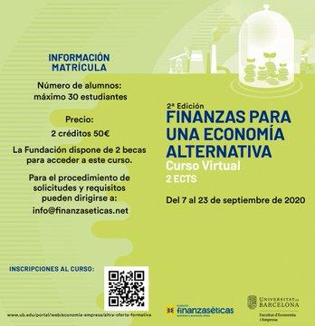 El 7 de setembre comença el curs sobre #FinancesÈtiques a la @UniBarcelona: 📚🌱Finanzas para una #EconomíaAlternativa  Encara queden places! Matricula't aquí: https://t.co/vPuvHOQIPd https://t.co/YWg05XQujl