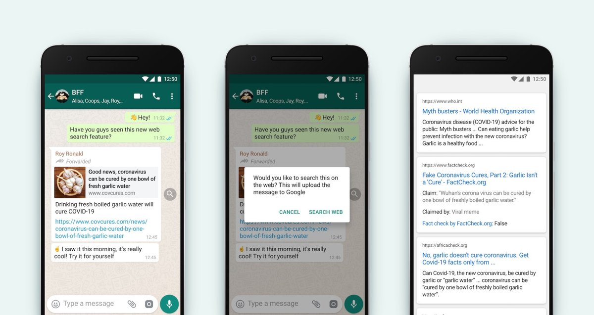 "#Whatsapp introduced its new feature ""#SearchtheWeb"", which allows users to #factcheck the most forwarded messages by simply uploading the message to the #web -by clicking ""🔍"" icon. And don't worry: Whatsapp won't see your messages. https://t.co/UdmKbYgjRQ"