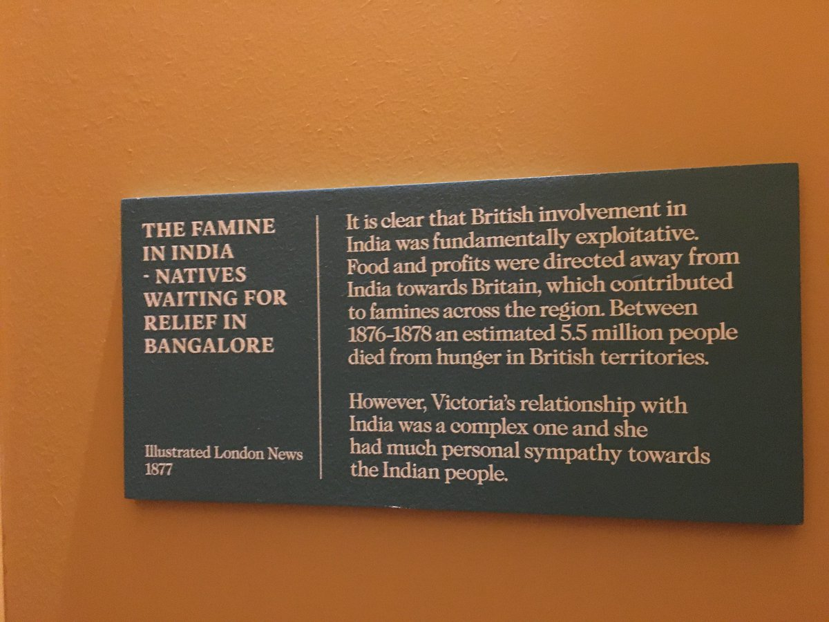 Remembering the Empire, food and famine in UK's first ever #SouthAsianHeritageMonth 5.5 million Indians died during the famine in 19th C- ref panels from #KensingtonPalace. Further 3 million died in the Bengal famine, result of food distribution mismanagement during WW2. pic.twitter.com/wNiZXvjy7w