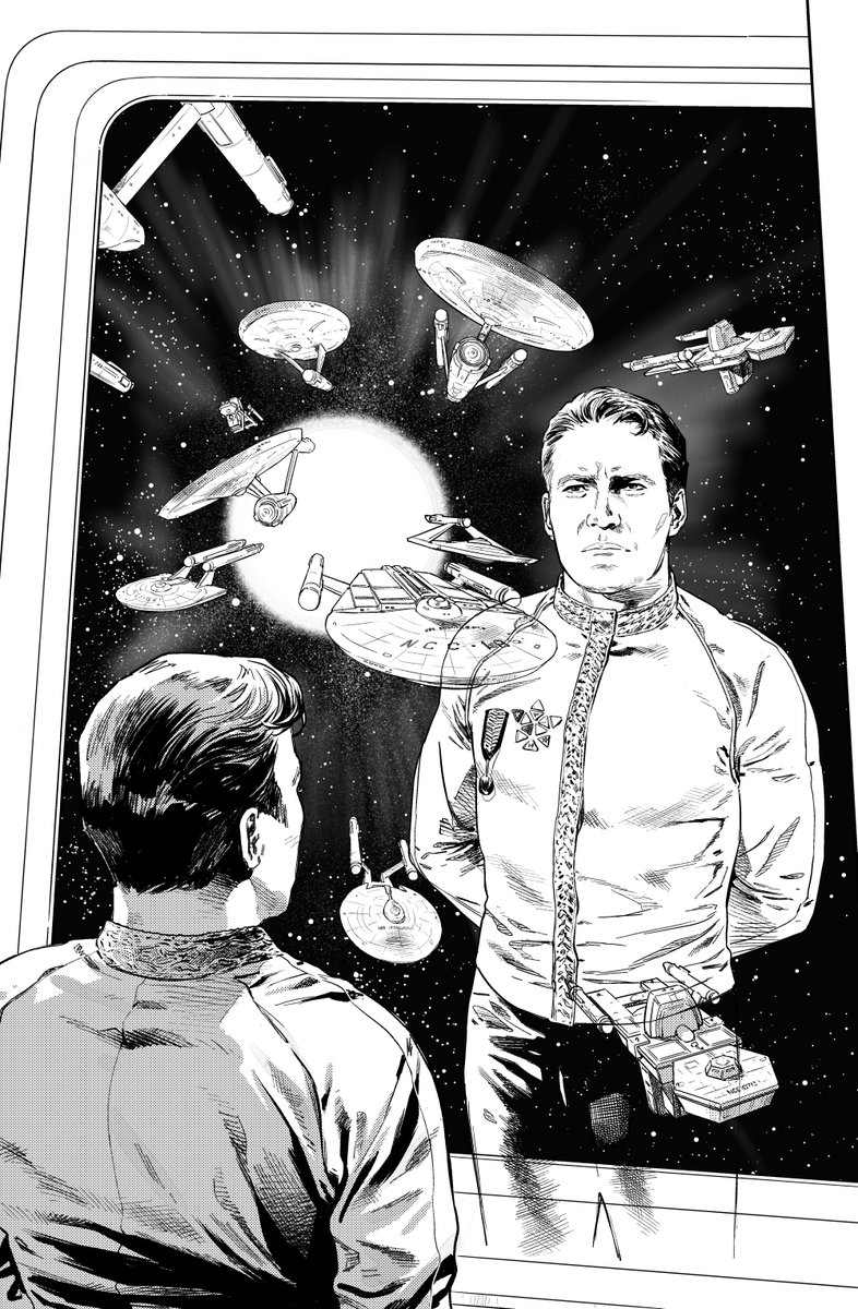 Star Trek: Year Five #13 is out tomorrow. Here are my inks for the cover. BONUS: I prepared a little guide to the ship classes for our colourist, @charliekirchoff