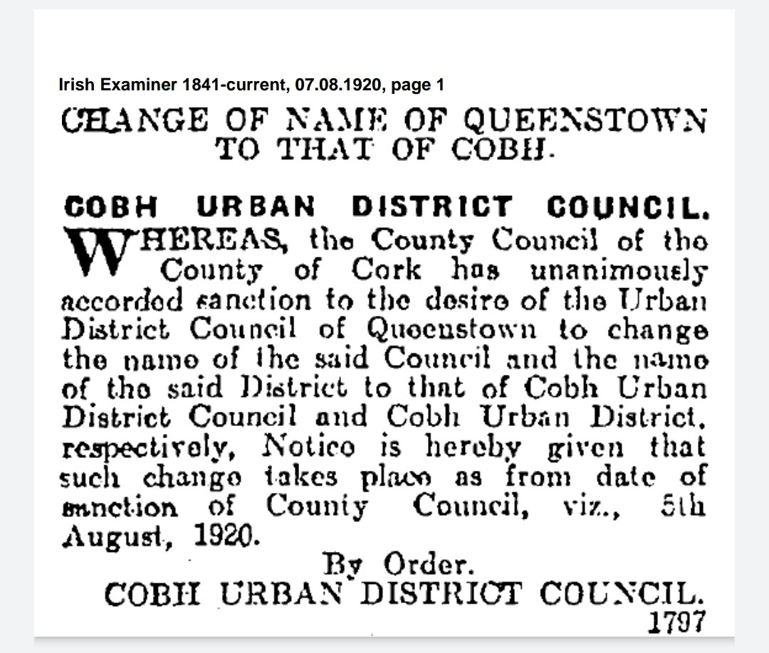 100 years ago tomorrow (5 August 1920), Queenstown, County Cork was renamed Cobh. https://t.co/9p0k4q8rQf