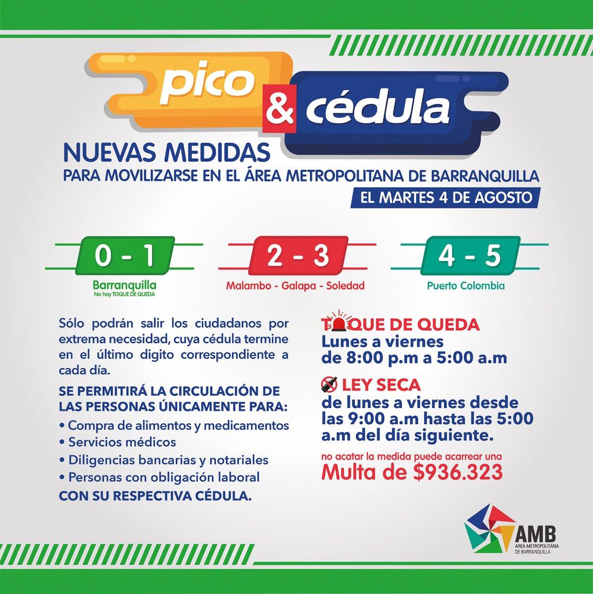 """¡Buenos días! ☀️ Le recordamos el """"Pico y Cédula"""" entre B/quilla y su Área Metropolitana para aquellas personas, cuya cédula termine en el último dígito correspondiente a cada día.  📍Barranquilla: 0️⃣ y 1️⃣  📍Malambo, Galapa y Soledad: 2️⃣ y 3️⃣  📍Puerto Colombia: 4️⃣ y 5️⃣ https://t.co/ypkk80V1rW"""