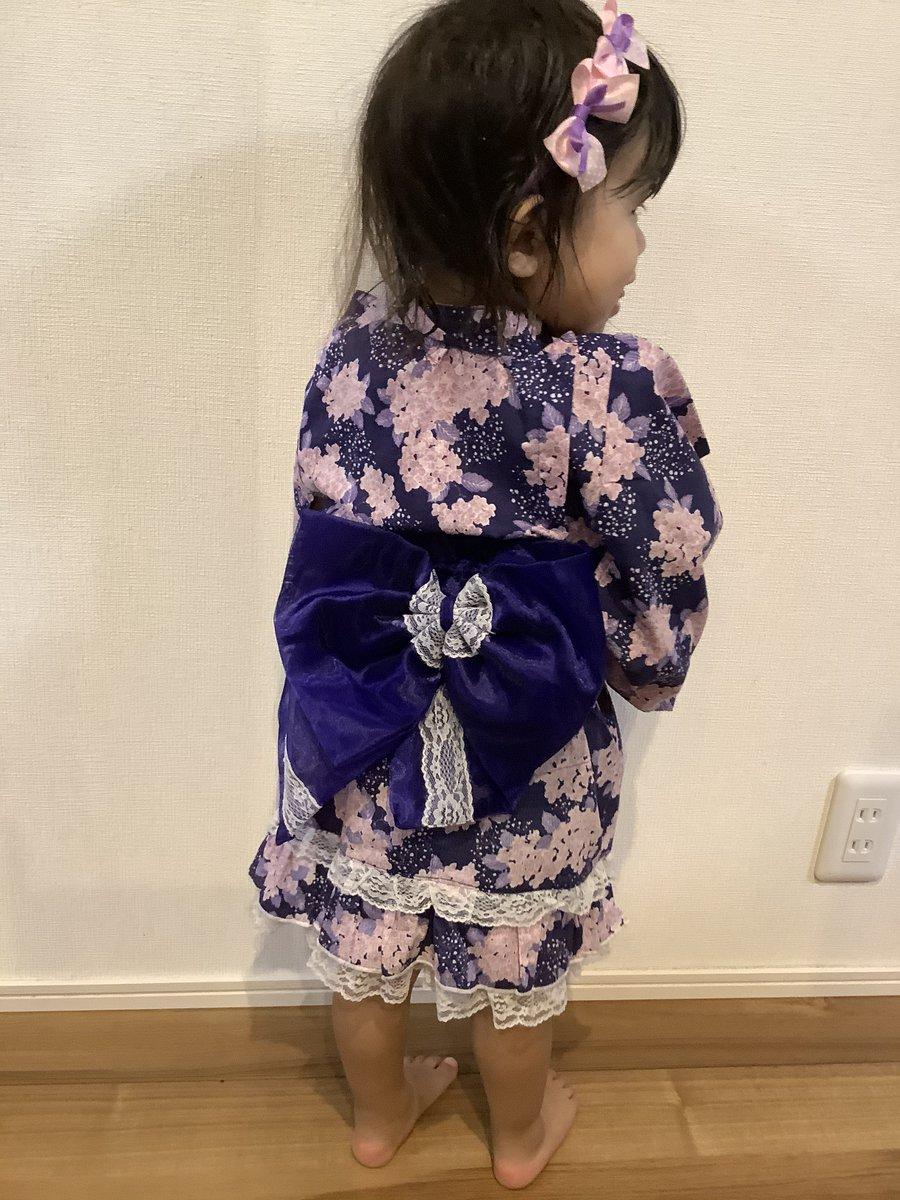 しまむら 浴衣ドレス❤️可愛いぞ❤️サイズ100センチ😅5歳でも着れるし、2歳着ても可愛い❤️長く着れそう✨#しまパト #浴衣