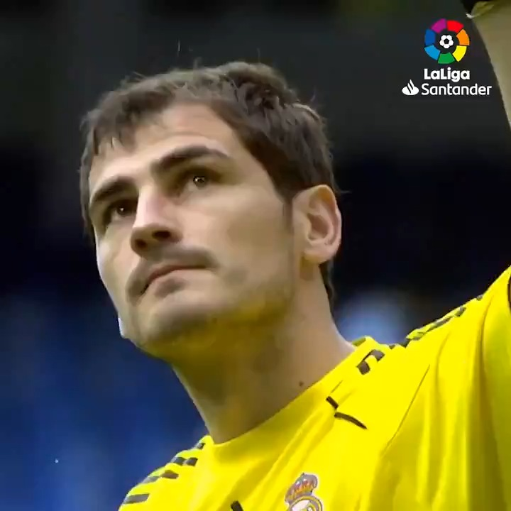 """""""I'm a Madridista by blood, a 𝘣𝘭𝘢𝘯𝘤𝘰 until the day I die."""" 🤍  Happy retirement, @IkerCasillas! 🤗  #Grac1as #LaLigaIcons"""