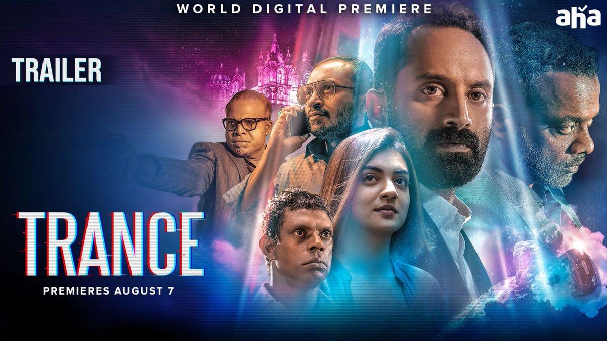 Here's the trailer in Telugu of my film #Trance that premieres August 7 on @ahavideoIN!  Watch here ➡️ https://t.co/CK7l243rBa  #FahaadhFaasil #Nazriya #AnwarRasheed #AmalNeerad  @resulp https://t.co/MNJzhPaubu