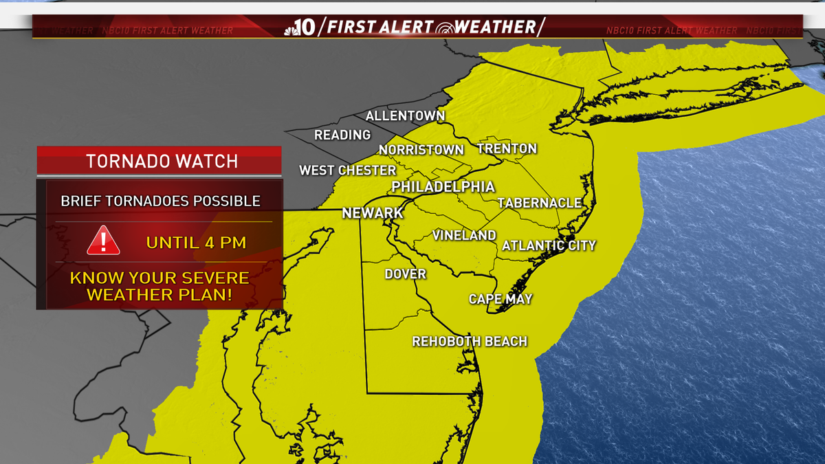 Steven Sosna On Twitter Tornado Watch In Effect Until 4 Pm We Ve Already Had Radar Indicated Tornadoes This Am In Delaware Philly Please Stay Weather Aware And Have A Way To