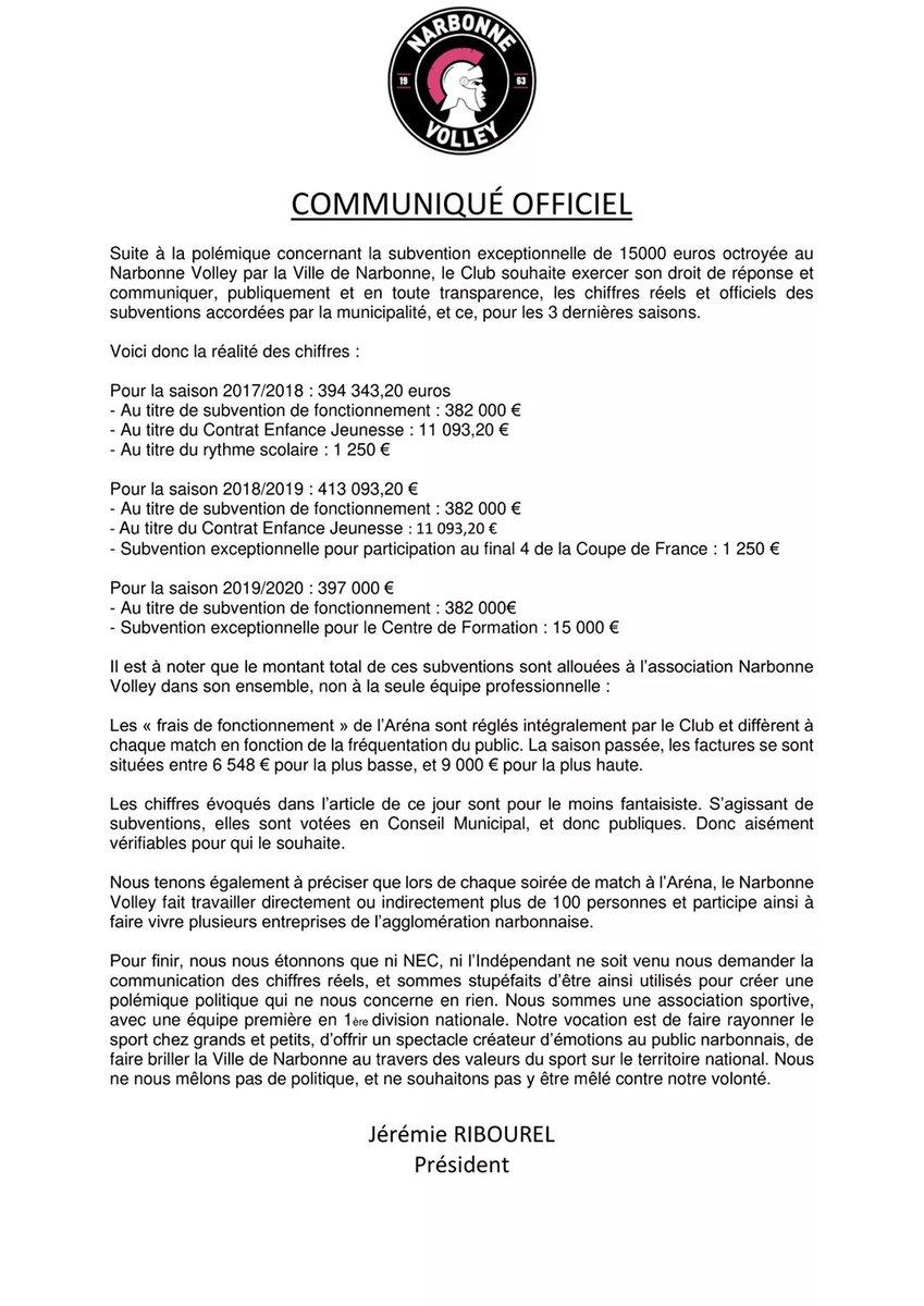 [PRÉSIDENT] #CommuniquéOfficiel  Ce jour, L'Indépendant Narbonne a publié un...
