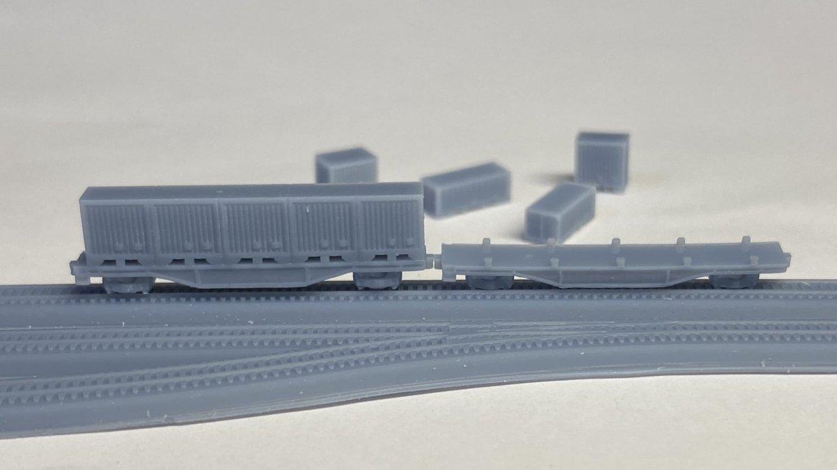 1/700スケールの鉄道車両も有りだよねぇ。レールやコンテナだけじゃなく色んな貨車や客車に様々な機関車も出力できたら幸せになれるかも♫pic.twitter.com/SynasZ9dXZ