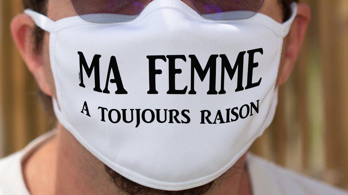 Pour les hommes diplomates...  Ma femme a toujours raison ✪ Masque en tissu double couche lavable ▶▶▶https://t.co/nQxMi9a5fc   via @apprenti_fajy   #toujoursraison #aTigraphe #deconfinement #MasqueObligatoire #coronavirus #gestesbarrieres #Covid_19 #masques #humour #citation https://t.co/pRS55kVW4v