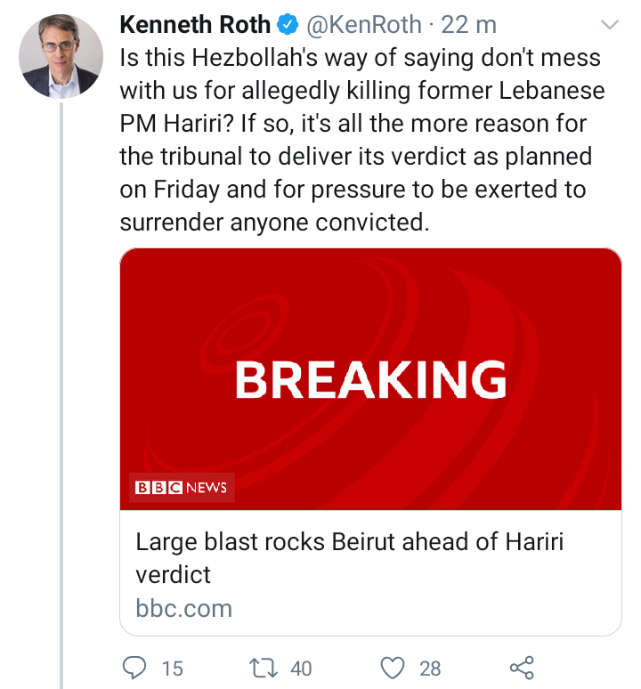 "Billionaire-funded regime-change lobby group ""Human Rights Watch"" is a total fraud. Its executive director @KenRoth just tried to blame the explosion in Beirut, Lebanon on Hezbollah, WITHOUT ANY EVIDENCE AT ALL. Not a shred.  Then he deleted the tweet: https://t.co/b4SMDXO5nm https://t.co/oyQ9Wgr04I"