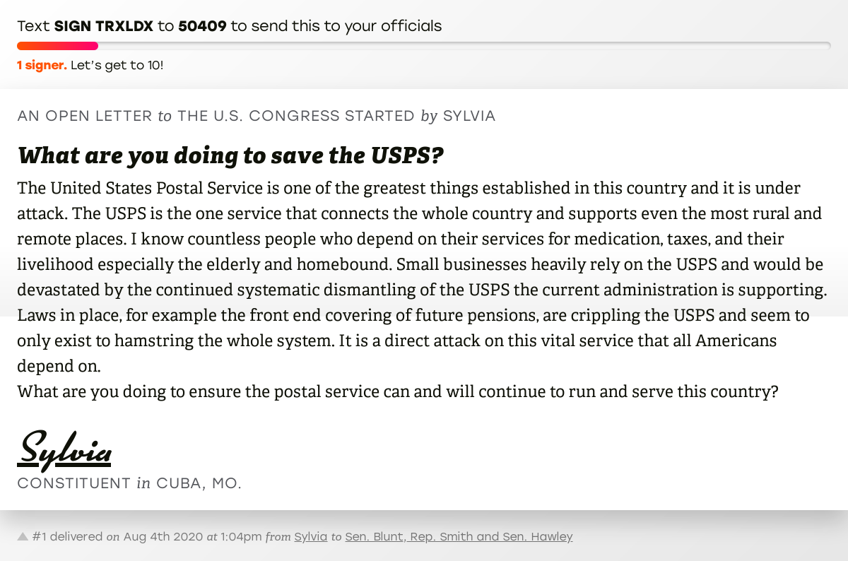 "🖋 Sign ""What are you doing to save the USPS?"" and I'll deliver a copy to your officials: https://t.co/3Fstv4SNMO  📨 No. 1 is from Sylvia to @RoyBlunt, @RepJasonSmith and @SenHawleyPress #MO08 #MOpolitics #SaveThePostOffice https://t.co/R3PphZ4oDp"