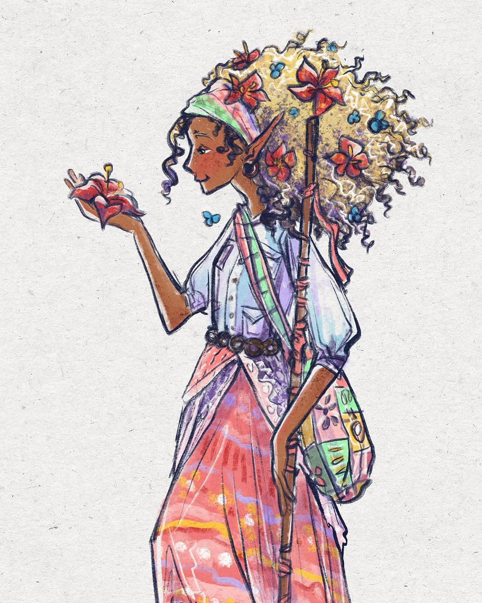 Mia-Lee, wood elf druid (classic, I know) for our current #DnD campaign. Forest hippie healer. Super friendly, chill af, a little naíve. Dyes her hair with berries.  . #dungeonsanddragons #woodelf #druid #woodelfdruid #characterdesign #sketchbook #watercolor #conceptart #fpic.twitter.com/qOCzc2WF1V