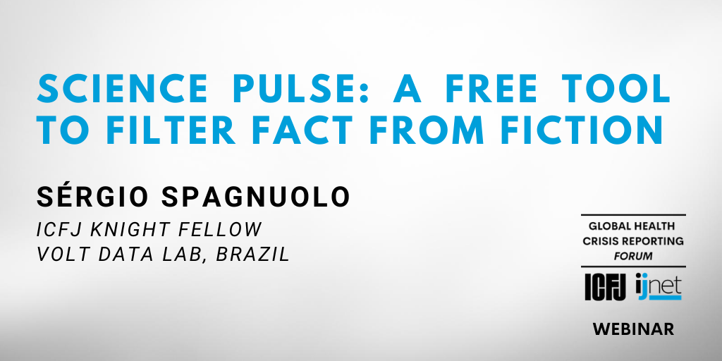 ⏳STARTING IN AN HOUR: Journalists! Need help filtering through the huge volume of information around COVID-19? Join @ICFJKnight Fellow @sergiospagnuolo on August 4 for a demo of his free tool @thesciencepulse. Sign up: buff.ly/3hPRDDt #CoveringCOVID