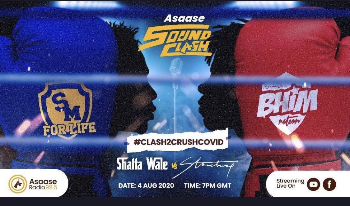 #Fortheculture #AsaaseSoundClash @shattawalegh @stonebwoyb tonight #akyesaaaaaaaaa ... I bless the clash and wish both #SM and #BHIMNATION all the best. Whoever wins however should prepare for the bigger dinner 😁... ok let's get ready to rrrrrrrrrrrumbleeeee 😂 🔔🥊🥊