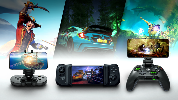 Three different columns depict three different games and mobile controllers holding phones. On the left a pirate from Sea of Thieves over the 8BitDo SN30 Pro controller. In the middle, a racecar from Forza Horizon 4 over the Razer Kishi controller. On the right, a fantasy land from Ori and the Will of the Wisps, where the PowerA MOGA XP5-X Plus controller rests.