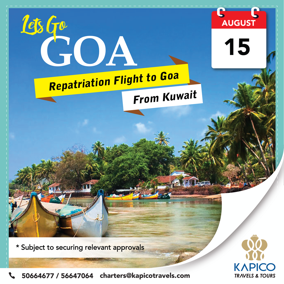 KAPICO Travels is organizing a special charter #flight to #Goa from #Kuwait.Bookings open for Goa, KA & MH state travelers. For more info call us.  شركه كابيكو للسياحة والسفر تعلن عن رحلات طيران خاصه إلي (غوا) من الكويت لمعرفة التفاصيل اتصل بنا 50664677 , 56647064  #Kapicotravels https://t.co/nSHYMFwlk6