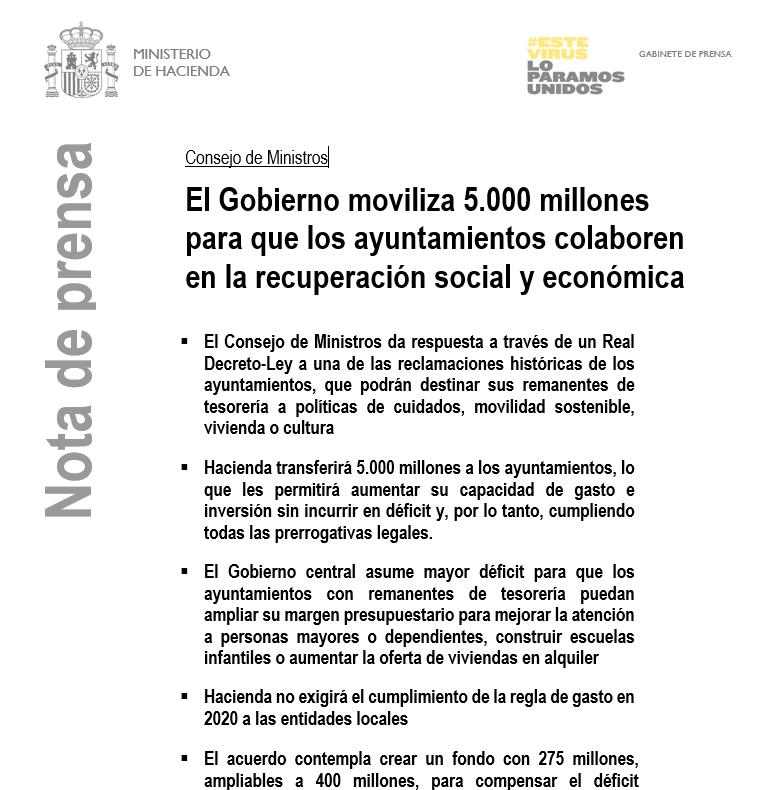 🗣️Hacienda movilizará 5.000 millones de euros para que los #ayuntamientos con remanentes de tesorería colaboren en la recuperación social y económica.  Aquí pueden consultar el detalle del RDL aprobado por el #ConsejodeMinistros 👉https://t.co/hEuYwKIFom https://t.co/ePiIEudumW