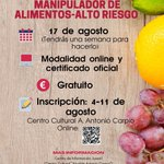 Image for the Tweet beginning: Online-Curso Manipulador de alimentos-Alto riesgo""