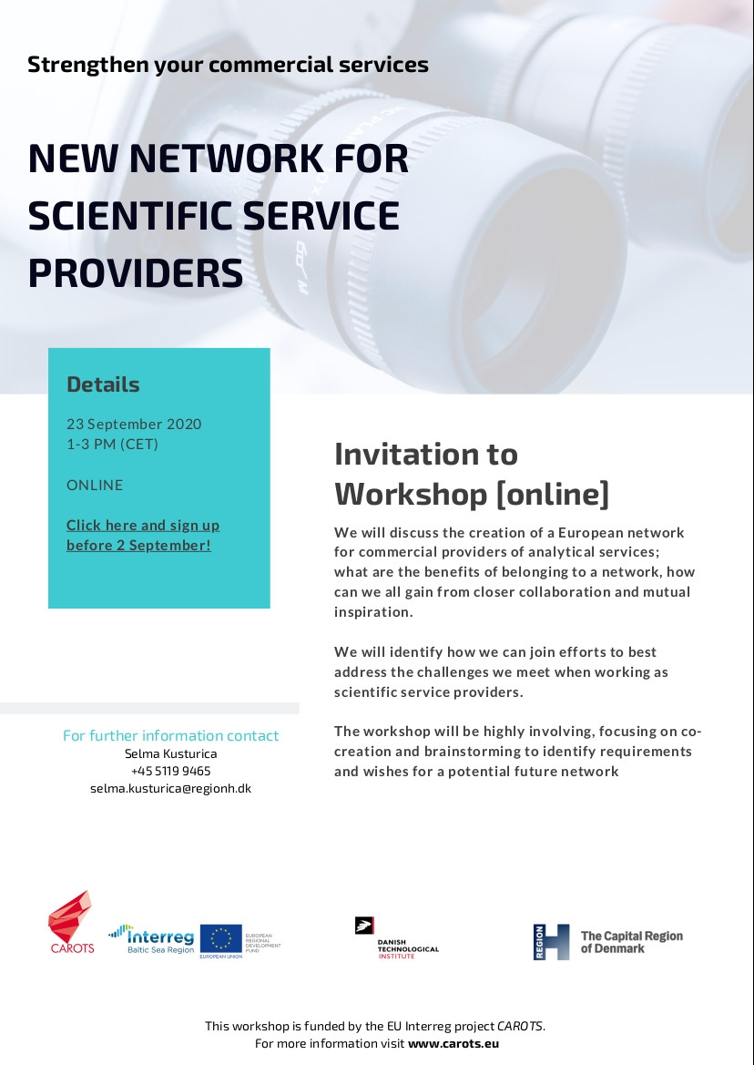 Are you interested in the creation of a European network for commercial providers of analytical services? Join an online workshop by #Interreg #BSR project @carotseu! More info about the project: https://t.co/AxfmziZw3I