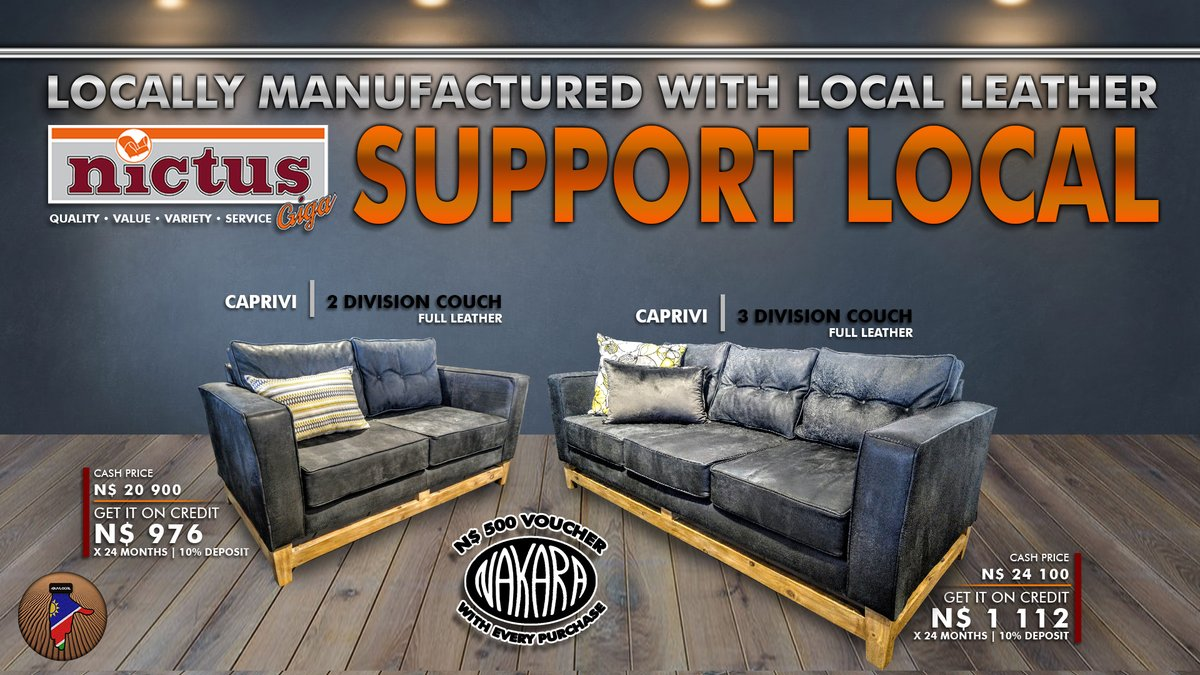 Support local! Get local with our locally-manufactured Caprivi couches  Now Available in-store.  #QualityValueVarietyService #BuyLocal pic.twitter.com/7OjGQe1vbB