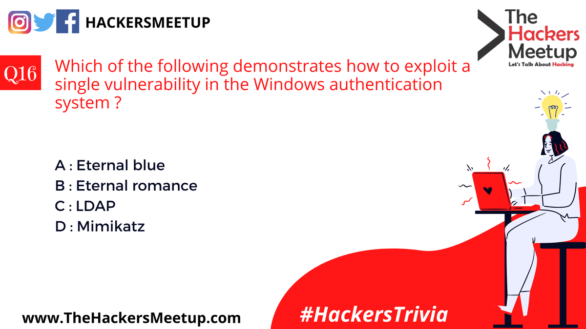 """""""Hackers Trivia"""" - Quiz Mania for Cyber Security Geeks.""""  #HackersTrivia #THMIndia #THMJuly2020 #TheHackersMeetup #HackFromHome #LearnFromHome #KeepHacking #THMExperts #EthicalHacking #CyberSecurity #SecurityVue #HackerSociety #MakingInternetSafepic.twitter.com/Vx55yG1hDl"""